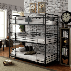 Gorz Industrial Black Twin Metal Triple Bunk Bed