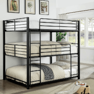 Cody Contemporary Black Triple Decker Bunk Bed (Multiple Sizes)