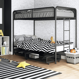 Joslin Twin Metal Bunk Frame Under Bed Storage Drawers