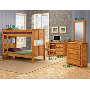 Twin or Full Panel Post Bunk Bed 3018 (PC)