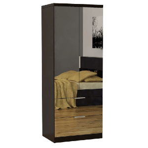 Alpha Centauri Espresso-finish Mirrored Wardrobe Armoire