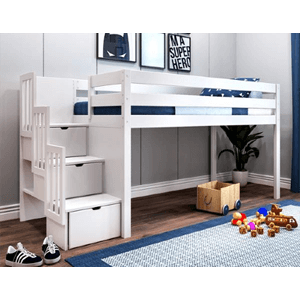 Solid Wood Contemporary Low Loft Twin Beds With Stairs (Multiple Colors)