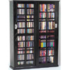 Black Mission Style Sliding Glass Door Multimedia Cabinet LD
