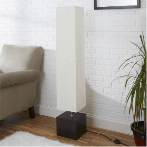 White Rice Paper Floor Lamp with Dark Wood Base LF1458-COM(WFS)