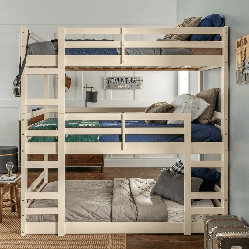 Manor Park Twin Size Solid Wood Triple Bunk Bed (Multiple Colors)