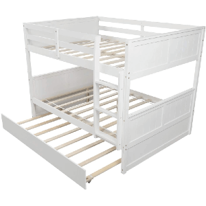 Solid Wood Bunk Bed Full/Full With Trundle (Multiple Colors)(300 Lbs Weight Capacity)