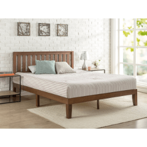 Solid Wood Platform Bed with Headboard (Multiple Sizes)