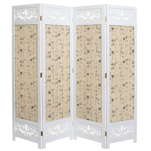 Asian Oriental Design Large White & Beige Wooden