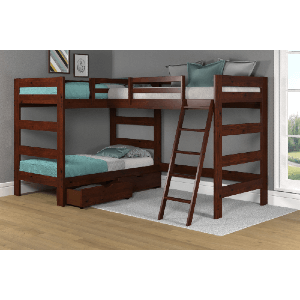 Solid Wood Twin Size  L Shape Bunk Bed TT6200 (Multiple Colors)