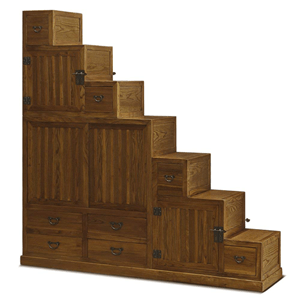 Hand Crafted Japanese Style Step Tansu Cabinet (Multiple Colors)