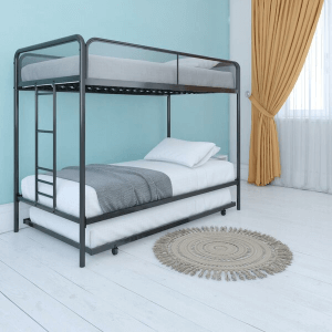 Twin over Twin Bunk Bed with Trundle (Multiple Colors)(250 Lbs Weight Capacity)