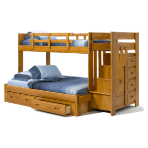 Solid Wood Heartland Twin over Full Reversible Stair Bunk Bed