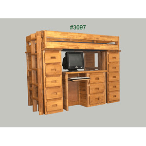 Twin Study Loft Bed Computer Desk And Ten Drawers 3097(PC)