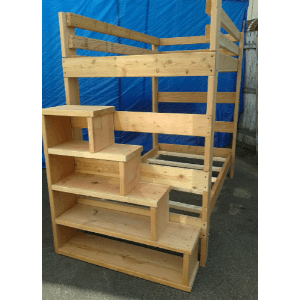 The Brute Solid Wood Adult Bunk Bed 1000 Lbs Wt. Capacity With Stairs (USM)
