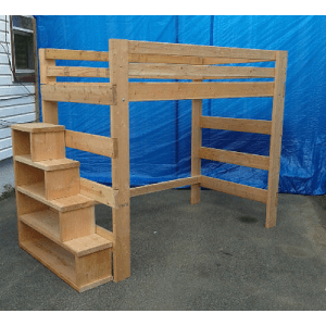 The Brute Solid Wood Adult Loft Bed 1000 Lbs Wt. Capacity With Stairs (USM)