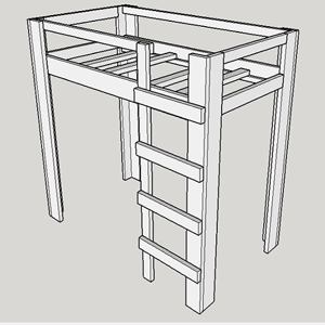 Open Concept Solid Wood Loft Bed 1000 Lbs Wt. Capacity (USM)