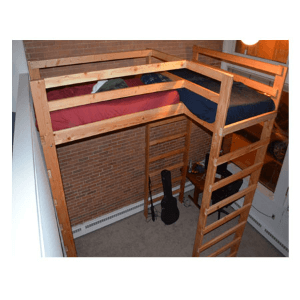 Any Size L-Shaped Adult Loft Bed Solid Wood 1000 Lbs.Wt Capacity
